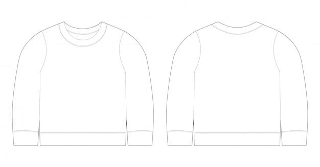 Ilustração infantil de t-shirt. frente de modelo de esboço de camisola e vista traseira. roupas de bebê. Vetor Premium