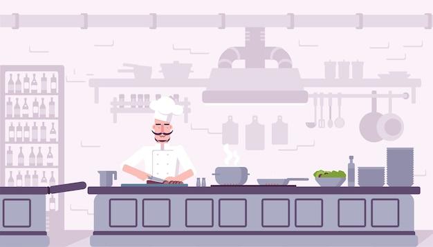 Ilustração interior da cozinha do restaurante, chef cozinhando o personagem de desenho animado de comida deliciosa. Vetor Premium
