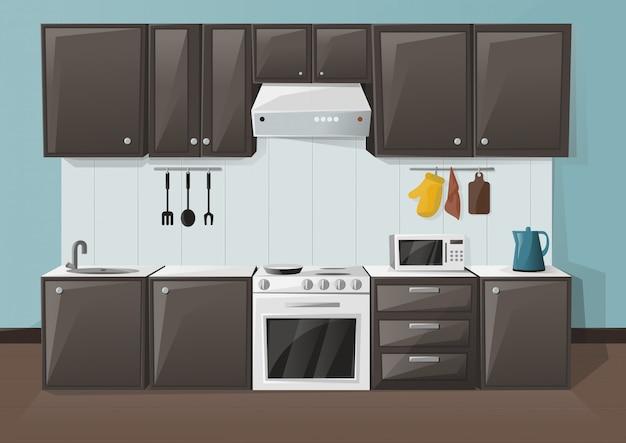 Ilustração interior de cozinha. quarto com geladeira, forno, microondas, pia e chaleira. Vetor Premium