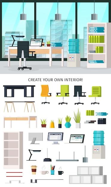 Ilustração interior de escritório e conjunto de móveis Vetor grátis