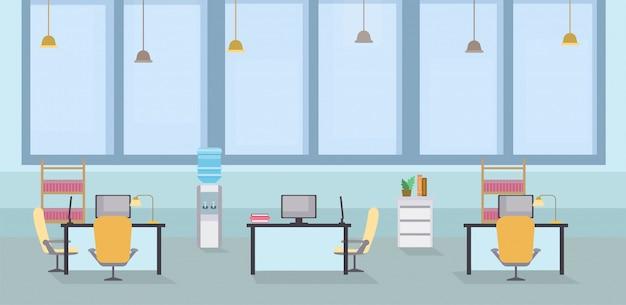Ilustração interior do vetor dos desenhos animados do escritório vazio. espaço aberto de coworking, mesas com cadeiras no local de trabalho Vetor Premium