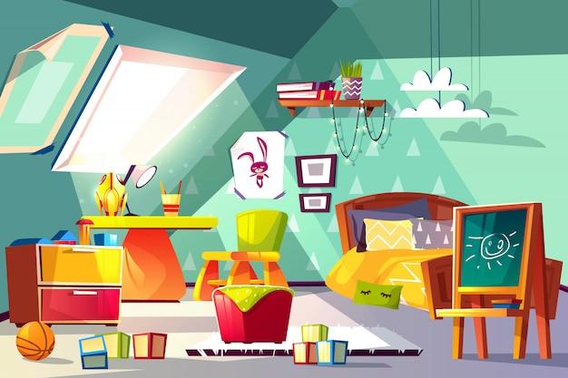 Ilustração interior dos desenhos animados da sala de criança do sótão. toddler or preschooler boy quarto aconchegante Vetor grátis