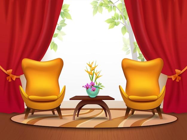 Ilustração interior dos desenhos animados sala estar Vetor grátis