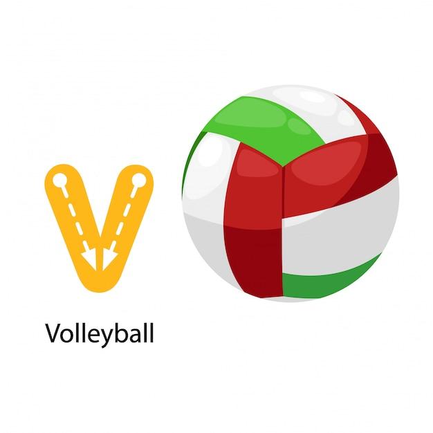 Ilustração isolada alfabeto letra v-voleibol Vetor Premium
