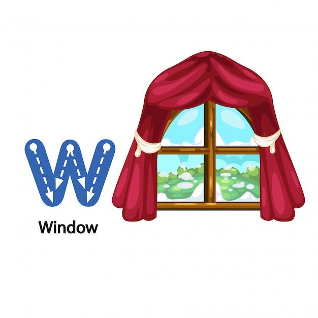 Ilustração isolada alphabet letter w-window Vetor Premium