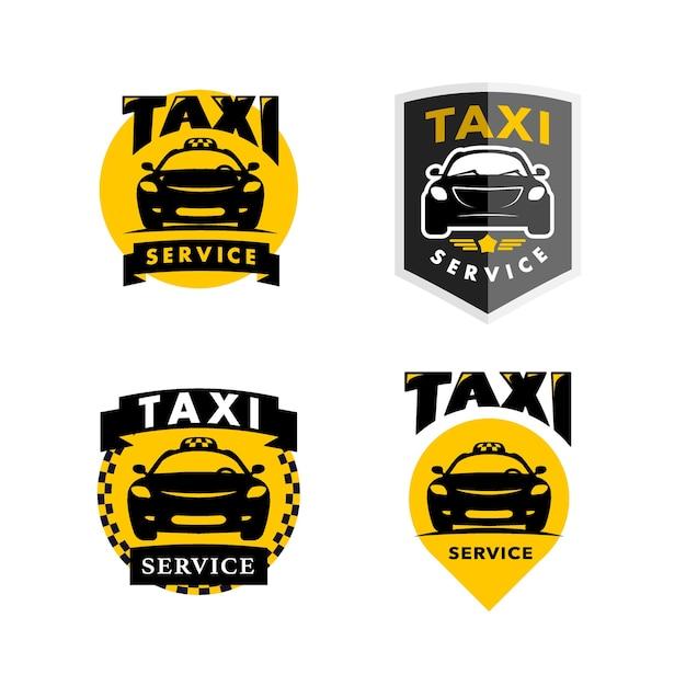 Ilustração isolada do logotipo do flat taxi Vetor Premium