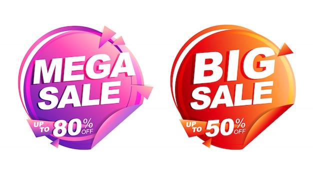 Ilustração isolada mega venda, preço de marca de desconto, faixa de desenho de círculo vermelho e rosa Vetor Premium