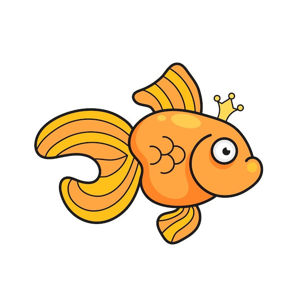Ilustração isolada na ilustração da silhueta dos peixes do aquário do peixe dourado. desenhos animados coloridos Vetor Premium