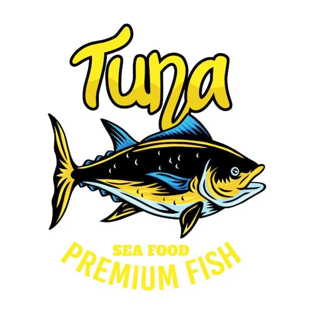 Ilustração isolada retro dos peixes de atum do emblema do vintage em um branco. Vetor Premium