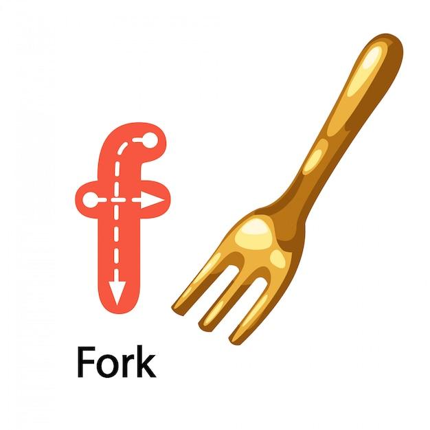 Ilustração isolado alfabeto letra f-fork Vetor Premium