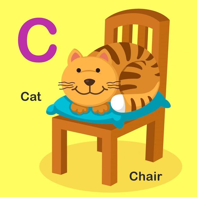 Ilustração isolado animal alfabeto letra c-cat, cadeira Vetor Premium