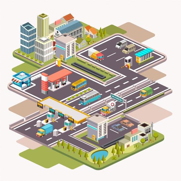 Ilustração isométrica da paisagem urbana com posto de gasolina, área de estacionamento ou área de descanso e portão higway Vetor Premium