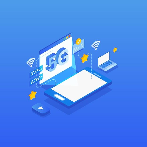 Ilustração isométrica da tecnologia sem fio da rede 5g. Vetor Premium