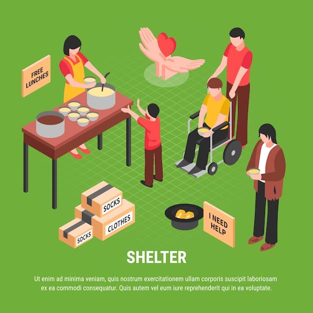 Ilustração isométrica de abrigo com implorando caixas de homem sem-teto com roupas e pessoas cuidando de pessoa com deficiência Vetor grátis
