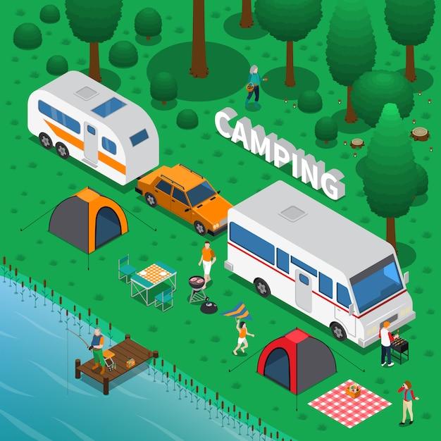 Ilustração isométrica de acampamento Vetor grátis