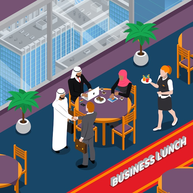 Ilustração isométrica de almoço de negócios de pessoas árabes Vetor grátis