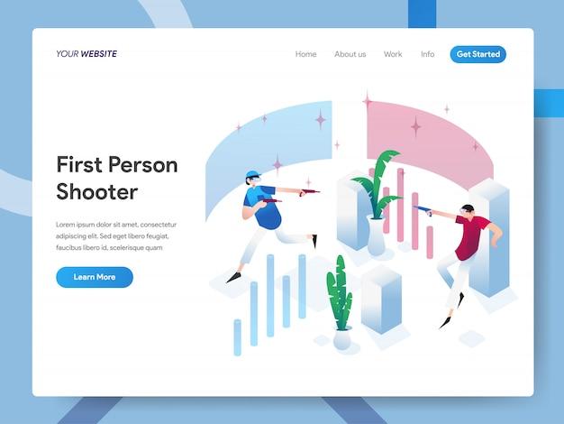 Ilustração isométrica de atirador em primeira pessoa para a página do site Vetor Premium
