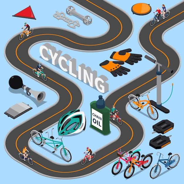 Ilustração isométrica de ciclismo Vetor grátis