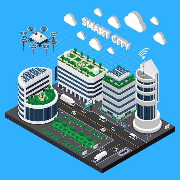 Ilustração isométrica de cidade inteligente tecnologia com transporte e símbolos de cidade limpa Vetor grátis