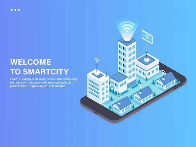 Ilustração isométrica de conceito de cidade inteligente Vetor Premium