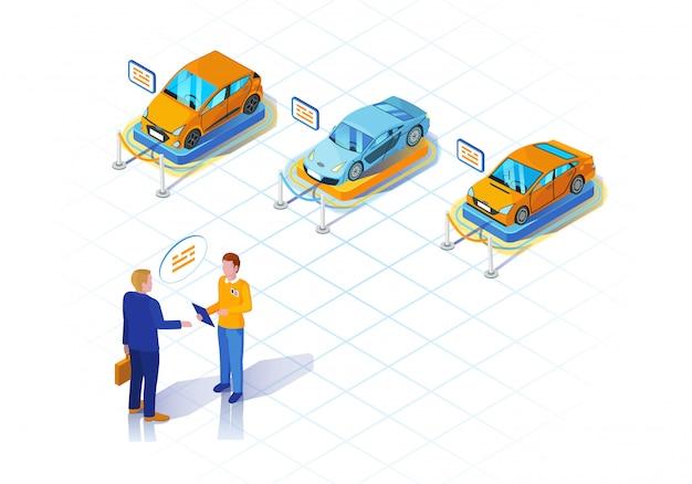Ilustração isométrica de concessionária de carros Vetor Premium