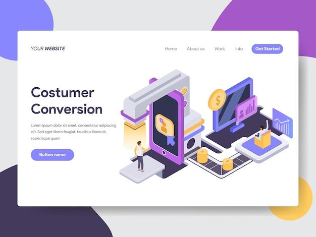 Ilustração isométrica de conversão do cliente para páginas da web Vetor Premium