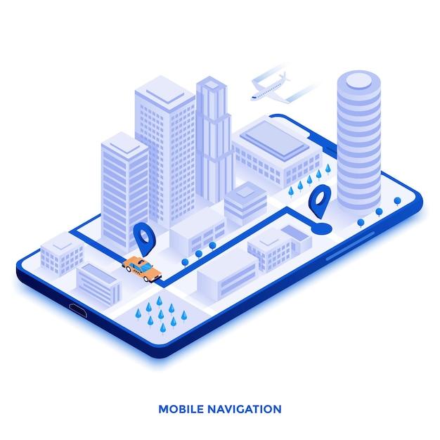 Ilustração isométrica de design plano moderno de navegação móvel Vetor Premium