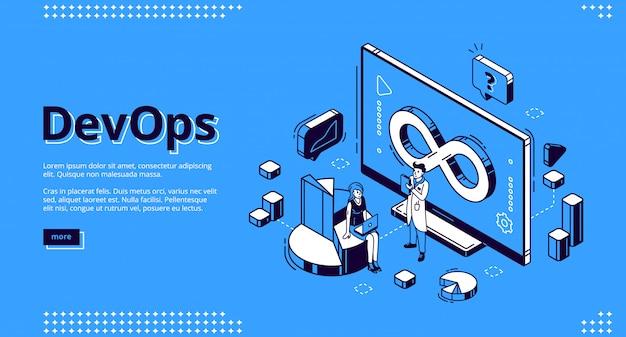 Ilustração isométrica de devops para web design, desenvolvimento e operação Vetor grátis