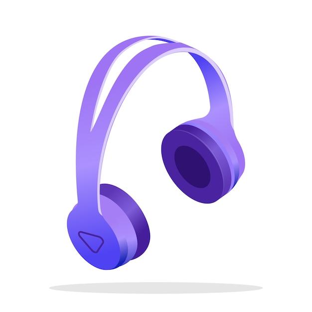 Ilustração isométrica de fones de ouvido sem fio moderna Vetor Premium