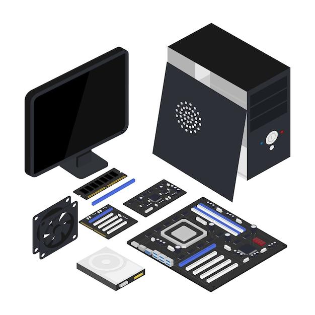 Ilustração isométrica de hardware de computador, processador, placa-mãe, disco rígido, clipart isolado de ventilador. Vetor Premium
