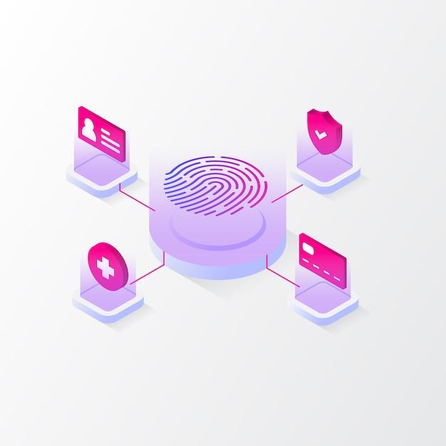 Ilustração isométrica de impressão digital Vetor Premium