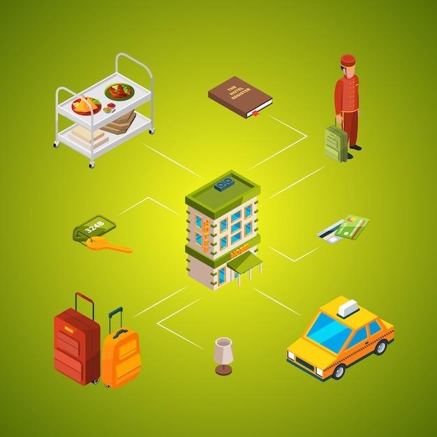 Ilustração isométrica de infográfico de ícones de hotel Vetor Premium