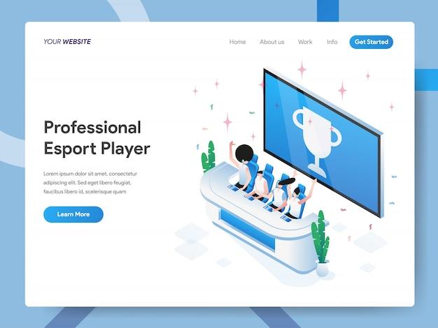 Ilustração isométrica de jogador profissional de esport para a página do site Vetor Premium