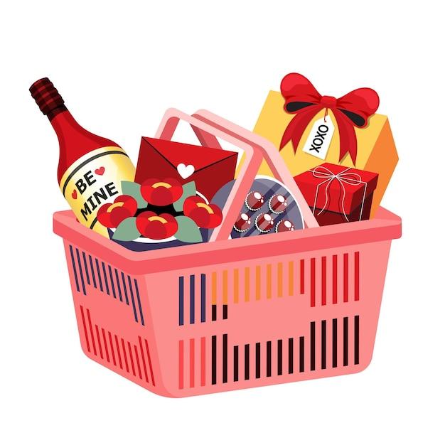 Ilustração isométrica de objeto de cesta de compras no supermercado para cartão de feliz dia dos namorados ou decoração de banner Vetor Premium