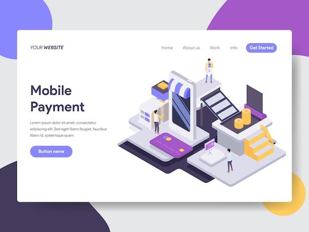 Ilustração isométrica de pagamento móvel Vetor Premium