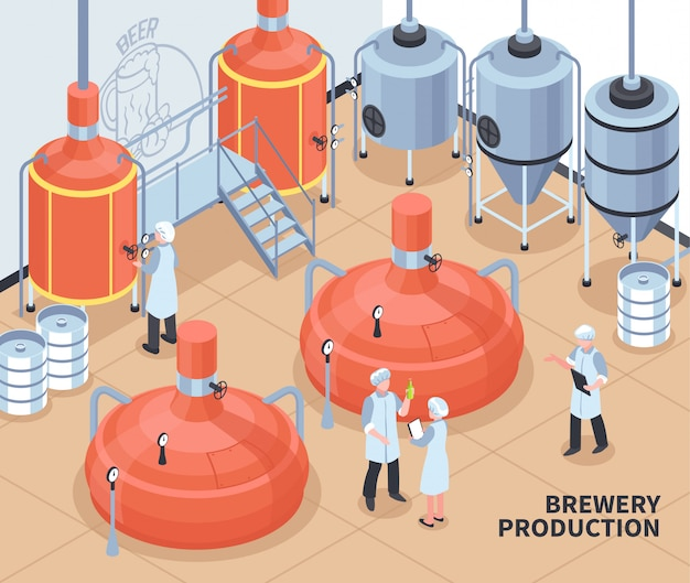 Ilustração isométrica de produção de cervejaria Vetor grátis
