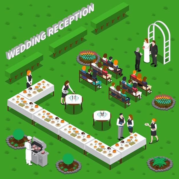 Ilustração isométrica de recepção de casamento Vetor grátis