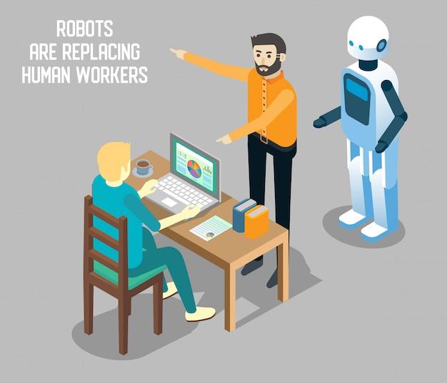 Ilustração isométrica de robô vs trabalho humano Vetor Premium