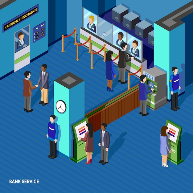 Ilustração isométrica de serviço bancário Vetor grátis