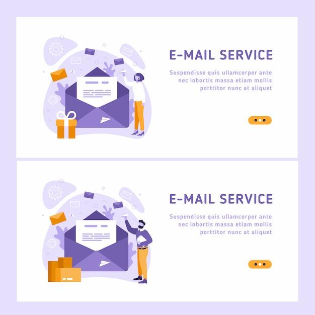 Ilustração isométrica de serviço de e-mail. conceito de mensagem de correio eletrônico como parte do marketing de negócios. Vetor Premium