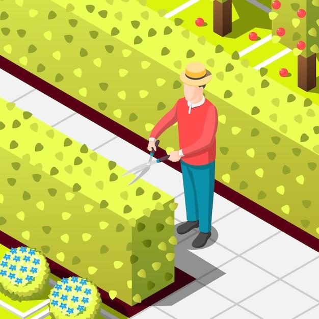 Ilustração isométrica de trabalhador empregado jardineiro Vetor grátis