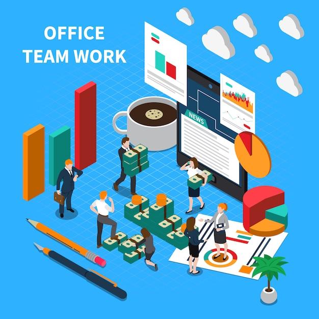 Ilustração isométrica de trabalho em equipe de escritório com símbolos de comunicação e progresso Vetor grátis