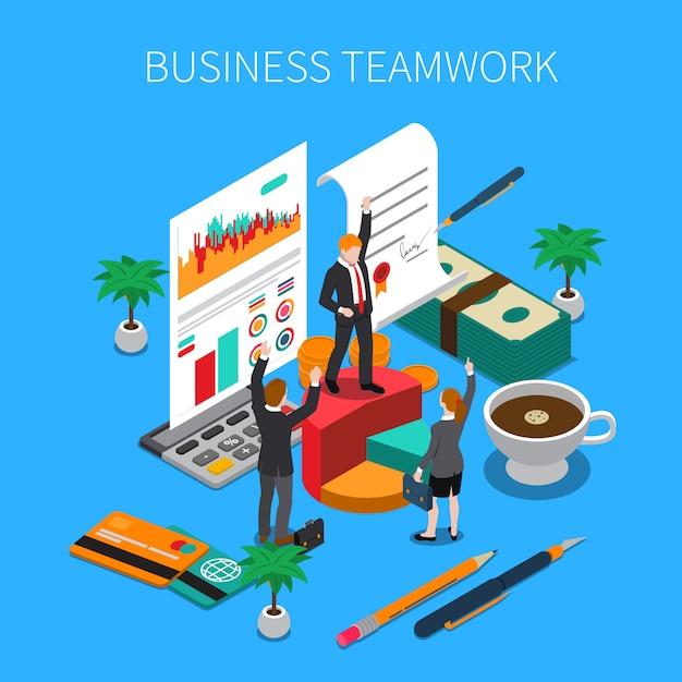 Ilustração isométrica de trabalho em equipe de negócios com símbolos de trabalho e progresso de idéias Vetor grátis