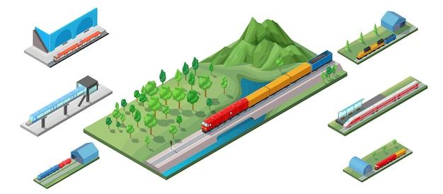 Ilustração isométrica de transporte ferroviário Vetor grátis