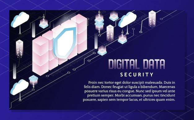Ilustração isométrica de vetor de segurança de dados digitais Vetor Premium