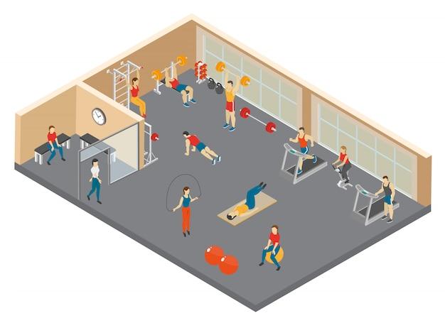 Ilustração isométrica do clube de fitness Vetor grátis