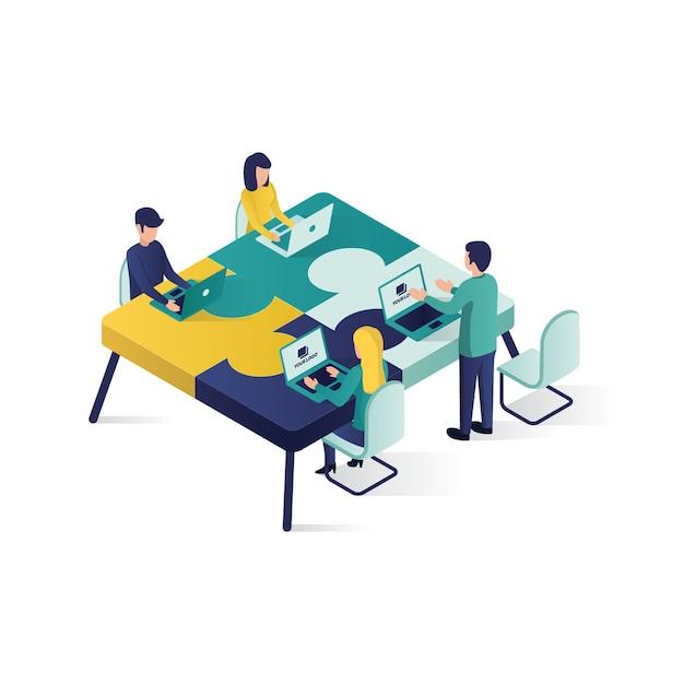 Ilustração isométrica do conceito da parceria da cooperação da ilustração do conceito dos trabalhos de equipa no estilo isométrico. Vetor Premium