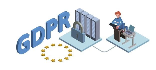 Ilustração isométrica do conceito gdpr. regulamento geral de proteção de dados. proteção de dados pessoais. , em fundo branco. Vetor Premium