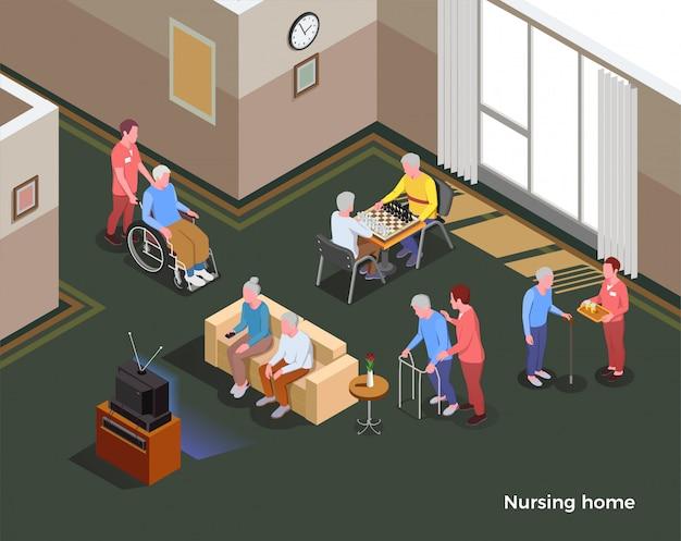 Ilustração isométrica do lar de idosos ilustrado interior do salão comum com mesa de televisão de sofá para jogos e habitantes da instalação social Vetor grátis