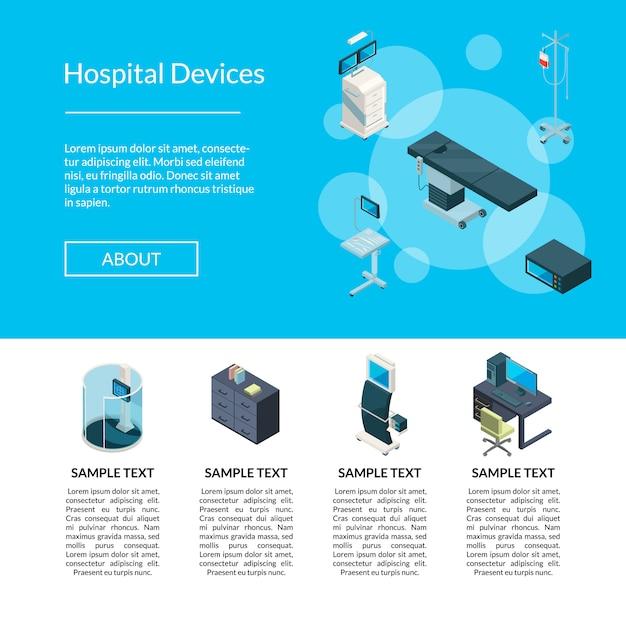 Ilustração isométrica do modelo de página de aterrissagem de ícones de hospital Vetor Premium